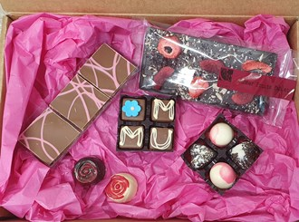 Gift Box: Mothers Day $55 Full of hand made chocolates- tied with organza ribbons