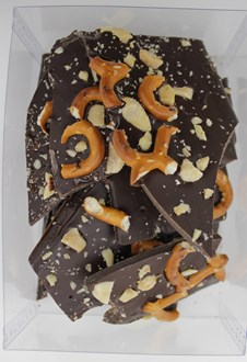 Dad: Peanut & Pretzel bark DARK 53% cocoa 150g each in a box