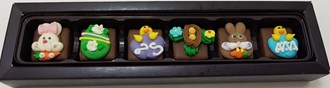 Easter: Caramels Assorted Deco 53% DARK 6 Box