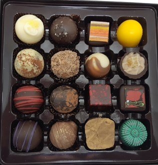 Chocolate & Truffle Mixed Selection: Box of 16 , with red ribbon