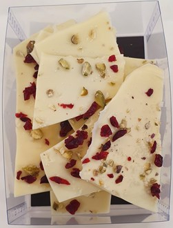 Bark: White 28% with salted pistachio/cranberry