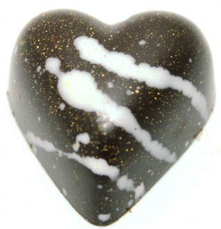 Praline: Baby Hearts Hazelnut Gold Dust 53% DARK each loose