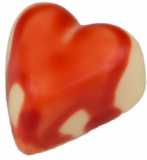 Praline: Baby Hearts Raspberry 28% WHITE each loose